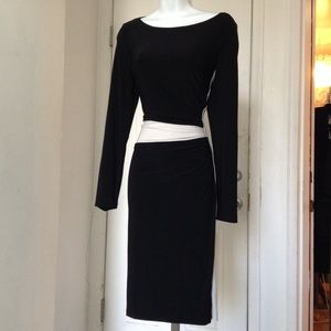 LAUREN Ralph Lauren Black & White Ruched  Dress